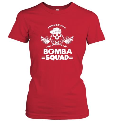 rkml bomba squad twins shirt minnesota baseball men bomba squad ladies t shirt 20 front red