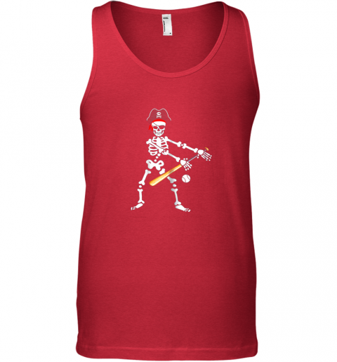 htxq skeleton pirate floss dance with baseball shirt halloween unisex tank 17 front red