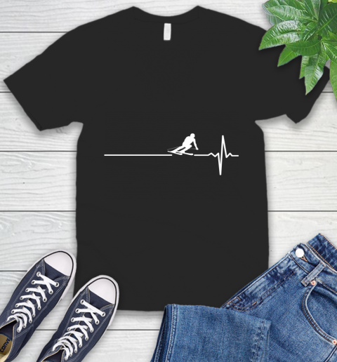Skiing This Is How My Heart Beats V-Neck T-Shirt