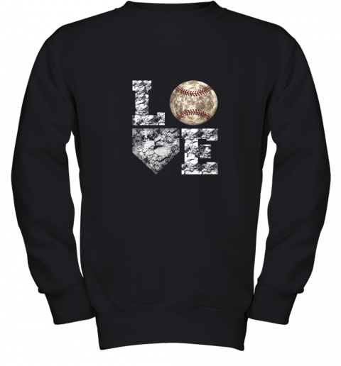 Baseball Distressed Ball Cute Dad Mom Love Gift Youth Sweatshirt