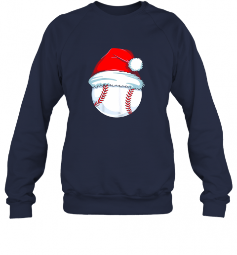 qm12 christmas baseball shirt for kids men ball santa pajama sweatshirt 35 front navy