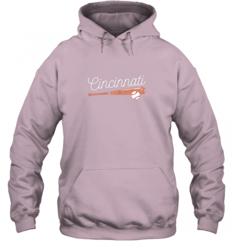 trwh cincinnati baseball tshirt classic ball and bat design hoodie 23 front light pink