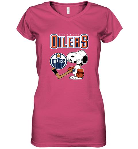 vmly edmonton oilers ice hockey broken teeth snoopy nhl shirt women v neck t shirt 39 front heliconia