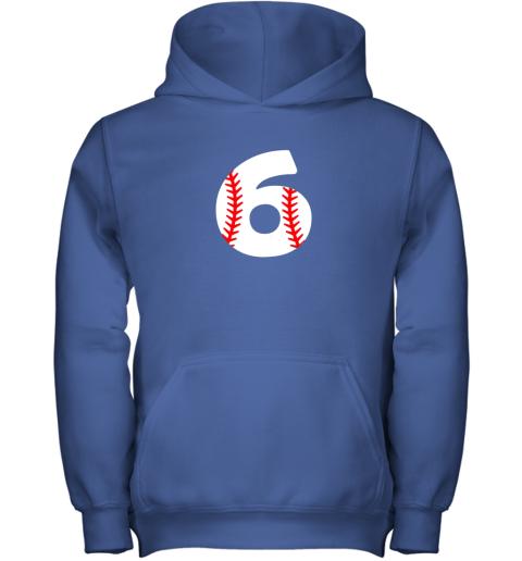 zajz sixth birthday 6th baseball shirtnumber 6 born in 2013 youth hoodie 43 front royal