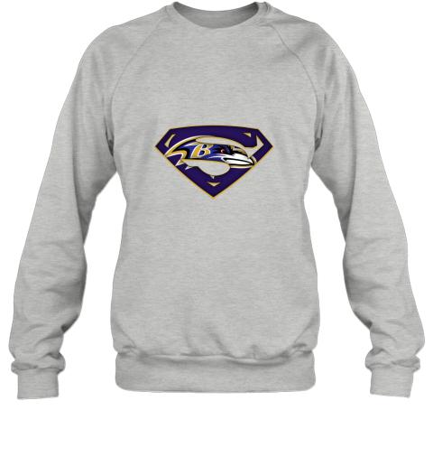 dt3p we are undefeatable the baltimore ravens x superman nfl sweatshirt 35 front sport grey