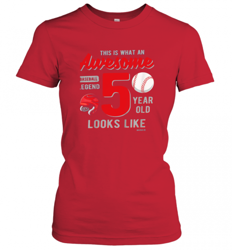 tqow kids 5th birthday gift awesome 5 year old baseball legend ladies t shirt 20 front red