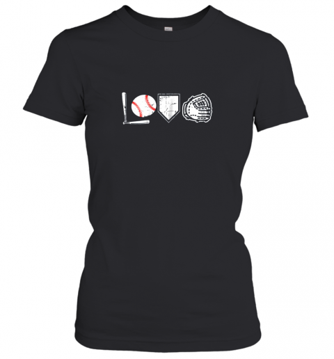 I Love Baseball Baseball Heart Women's T-Shirt