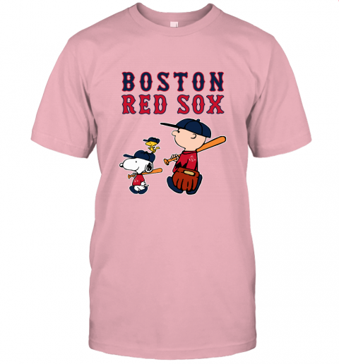 ta9y boston red sox lets play baseball together snoopy mlb shirt jersey t shirt 60 front pink
