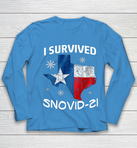 Snowstorm Texas 2021 I Survived Snovid 21 Snow Ice Outage Youth Long Sleeve 13