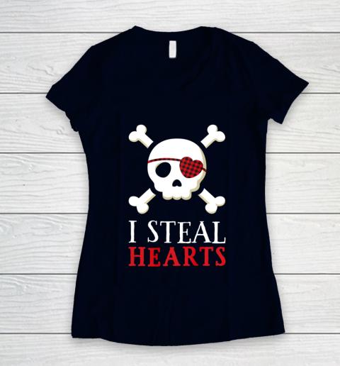 I Steal Hearts T Shirt Boy Girl Toddler Skull Valentine Gift Women's V-Neck T-Shirt 2