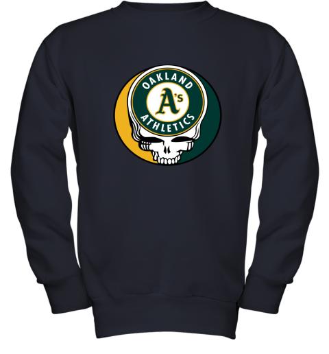 06ns oakland athletics the grateful dead baseball mlb mashup youth sweatshirt 47 front navy