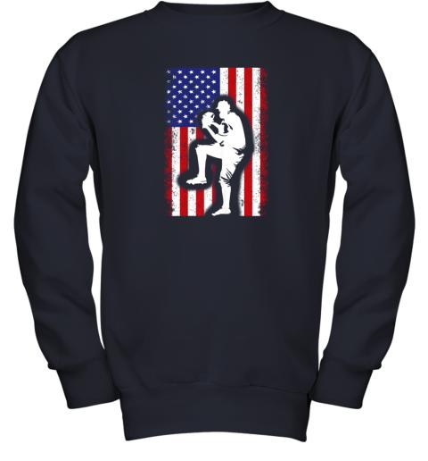nwzu vintage usa american flag baseball player team gift youth sweatshirt 47 front navy
