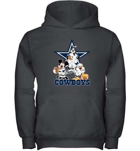 Mickey Donald Goofy The Three Dallas Cowboys Football Youth Hoodie