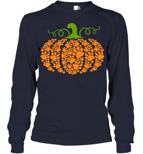 Pumpkin Paw Print Dog Lover Halloween Costume Girls Women Youth Long Sleeve