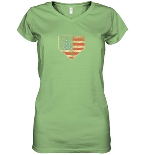 kquw vintage american flag baseball shirt home plate art gift women v neck t shirt 39 front lime