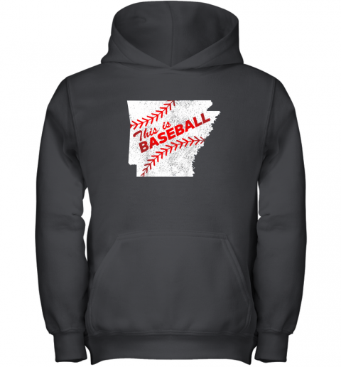 This is Baseball Arkansas with Red Laces Youth Hoodie
