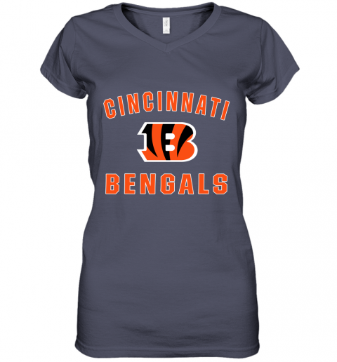 ybtz cincinnati bengals nfl pro line gray victory women v neck t shirt 39 front heather navy