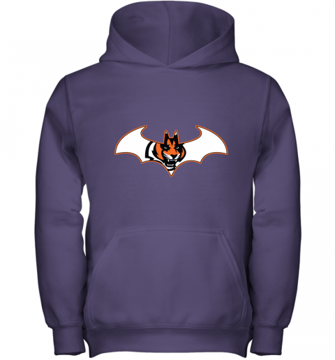w14b we are the cincinnati bengals batman nfl mashup youth hoodie 43 front purple