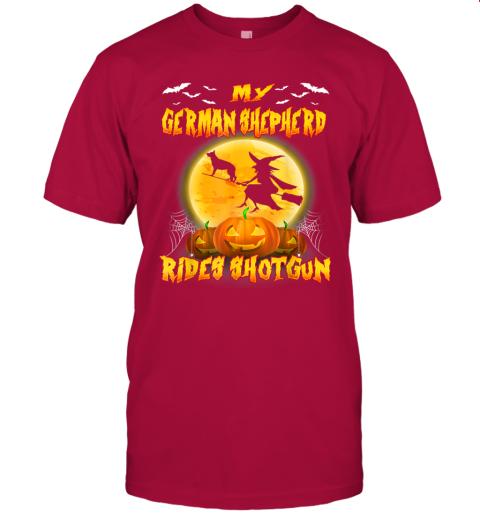 My German Shepherd Rides Shotgun Halloween Gift For Dog Love T-Shirt