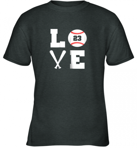 uams i love baseball player number 23 gift shirt youth t shirt 26 front dark heather