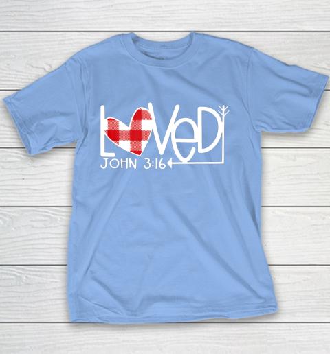 John 3 16 Loved Valentine Heart Youth T-Shirt 8