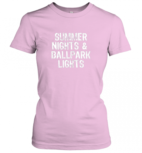 pby6 summer nights and ballpark lights baseball softball ladies t shirt 20 front light pink