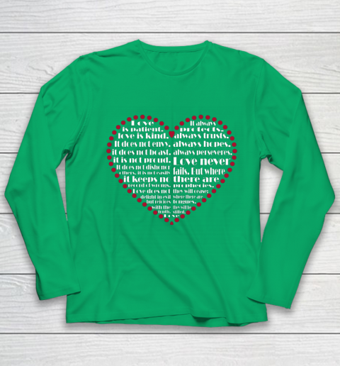 Love is patient love is kind Valentine Hearts Valentines day Youth Long Sleeve 4