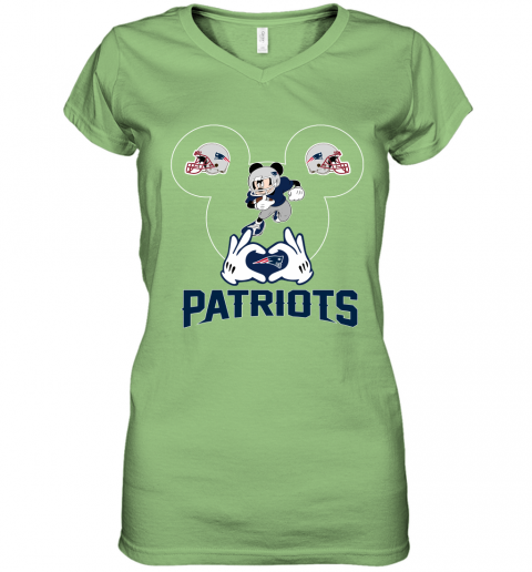 vy4h i love the patriots mickey mouse new england patriots women v neck t shirt 39 front lime