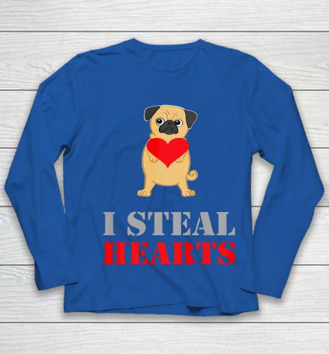 Pug Dog Valentine Shirt I Steal Hearts Youth Long Sleeve 7