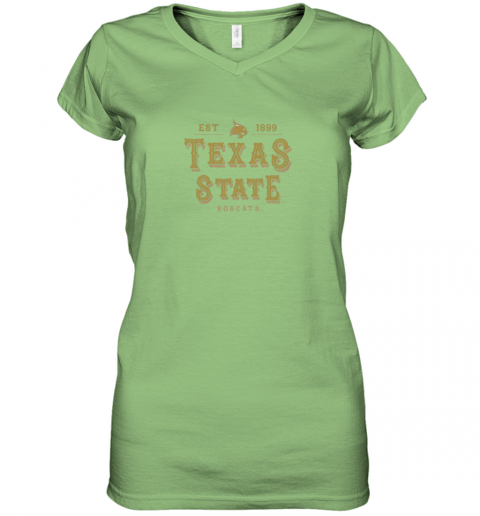 9btj texas state bobcats womens college ncaa women v neck t shirt 39 front lime