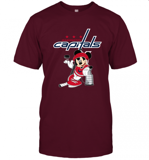 28k9 mickey washington capitals with the stanley cup hockey nhl jersey t shirt 60 front maroon