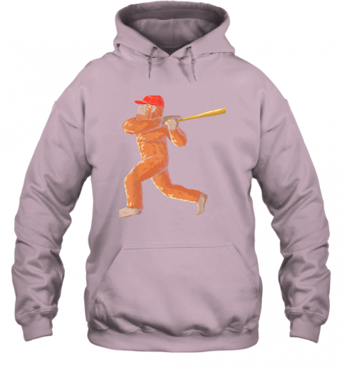 3pdz bigfoot baseball sasquatch playing baseball player hoodie 23 front light pink