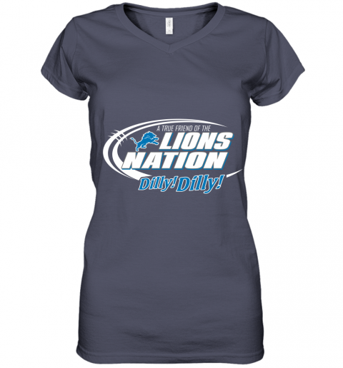 tfvl a true friend of the lions nation women v neck t shirt 39 front heather navy