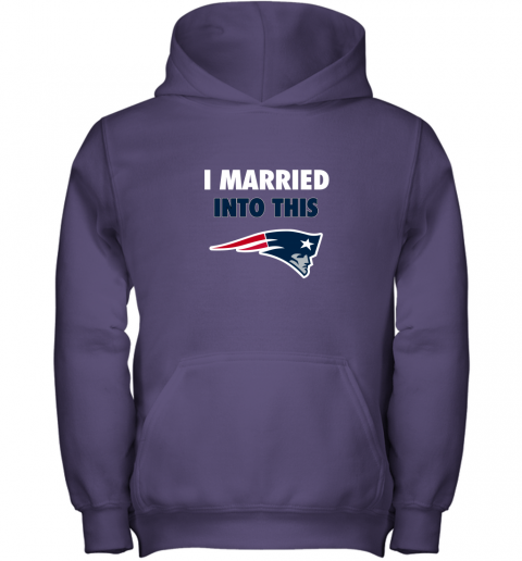 ozk4 i married into this new england patriots football nfl youth hoodie 43 front purple