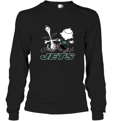 Snoopy And Charlie Brown Happy New York Jets NFL Long Sleeve T-Shirt