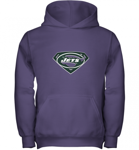 9ztr we are undefeatable the new york jets x superman nfl youth hoodie 43 front purple