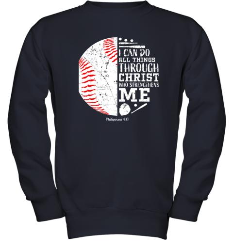 761o christian baseball shirts i can do all things through christ youth sweatshirt 47 front navy