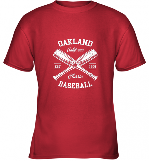 oujz oakland baseball classic vintage california retro fans gift youth t shirt 26 front red
