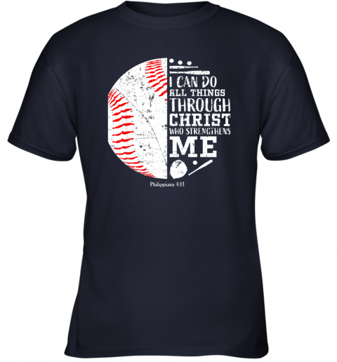 mjdn christian baseball shirts i can do all things through christ youth t shirt 26 front navy