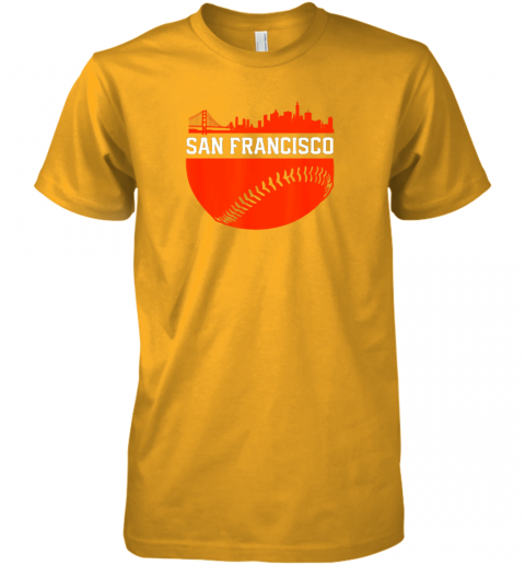 y3nv san francisco baseball vintage sf the city skyline gift premium guys tee 5 front gold