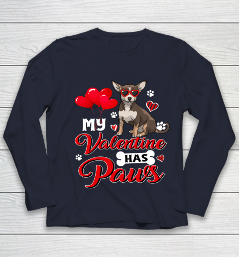 My Valentine Has Paws Chihuahua Valentine s Day Youth Long Sleeve 2