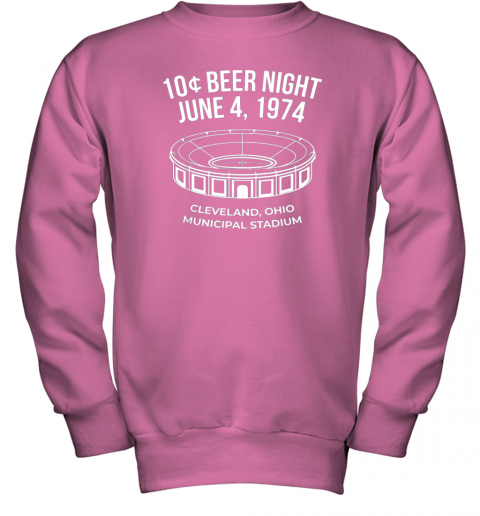 bymm cleveland baseball shirt retro 10 cent beer night youth sweatshirt 47 front safety pink
