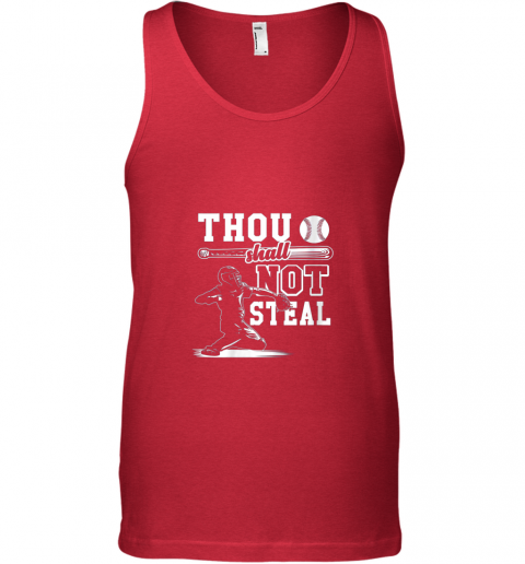 9lxv funny baseball thou shall not steal baseball player unisex tank 17 front red