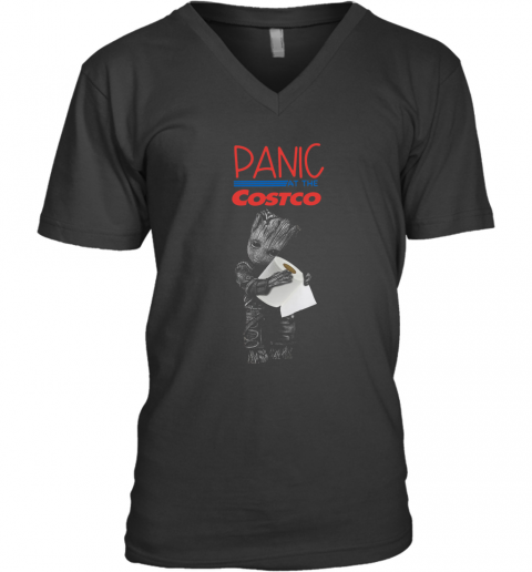 Baby Groot Hug Toilet Paper Panic At The Costco V-Neck T-Shirt