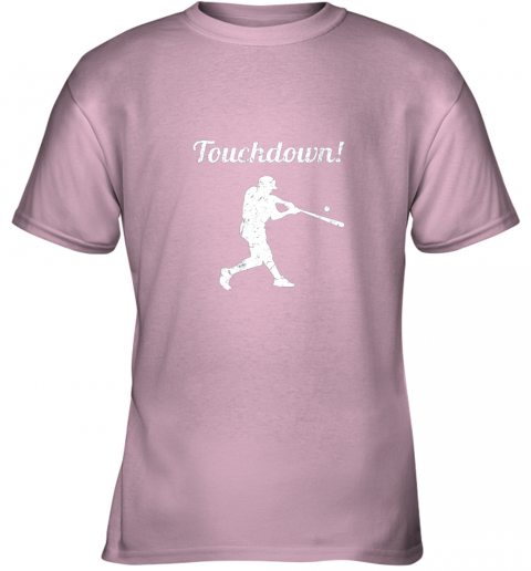 qjay touchdown funny baseball youth t shirt 26 front light pink