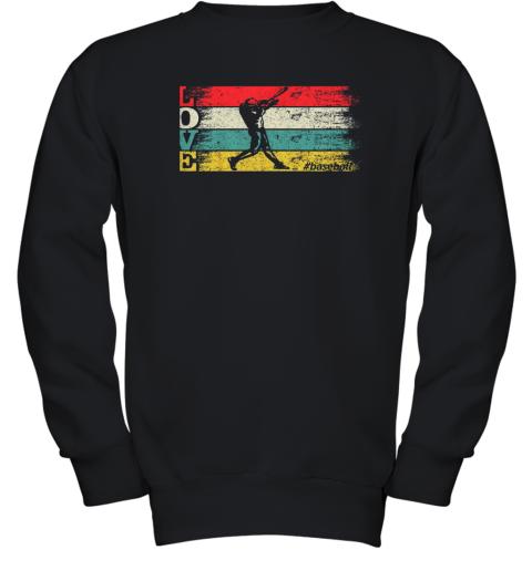 Vintage Retro Love Baseball Funny Batter Swinging Cool Gift t Youth Sweatshirt