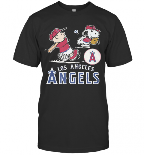 Snoopy And Charlie Brown Playing Baseball Los Angeles Angels T-Shirt