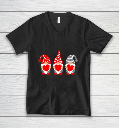 Gnomes Hearts Valentine Day Shirts For Couple V-Neck T-Shirt