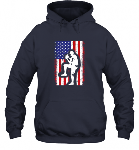 vwag vintage usa american flag baseball player team gift hoodie 23 front navy
