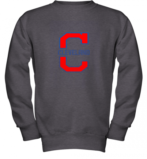 9lle cleveland hometown indian tribe vintage for baseball fans youth sweatshirt 47 front dark heather